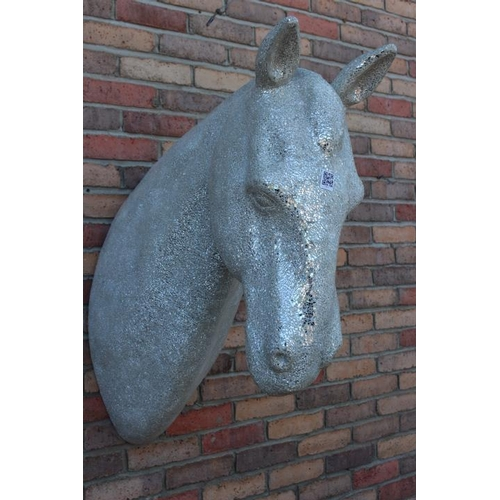 379 - Mosaic glass wall mounted bust of horse's head {70 cm H x 40 cm W x 80 cm D}....
