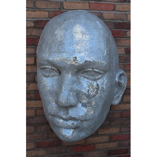 383 - Mosaic glass wall mounted face {100 cm H x 70 cm W x 66 cm D}....