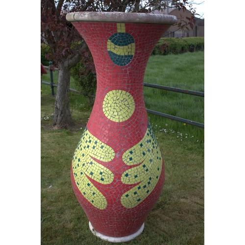 4 - Large stone mosaic vase { damage to back. }{170 cm H x 70 cm Dia.}....
