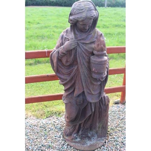 402 - Set of four cast iron figurines 'The Four Seasons' {150 cm H x 70 cm W x 50 cm D each}....