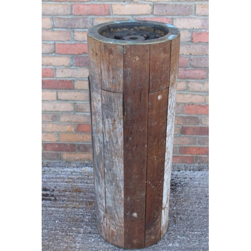 413 - Industrial brass and wood loom wheel {106 cm H x 160 cm W x 39 cm Dia.}....