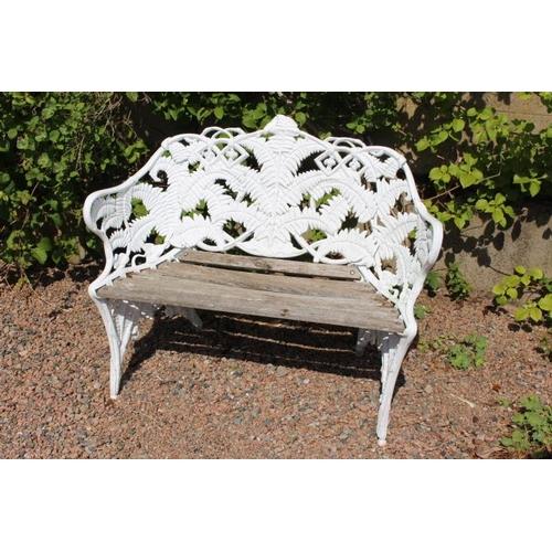 418 - Decorative aluminium  and wood fern design garden seat {85 cm H x 110 cm W x 40 cm D}....