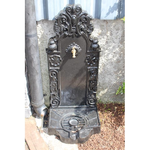 446 - Decorative cast iron water feature with tap {110 cm H x 45 cm Dia.}....