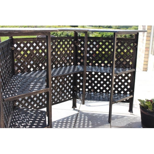 449 - Aluminium bar counter with shelving including two aluminium swivel high chairs {104 cm H x 200 cm W ...
