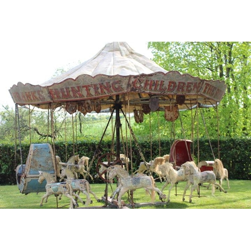 458 - Extremely rare late 19th. C. hand operated Fairground carousel in working order with eighteen hand c...