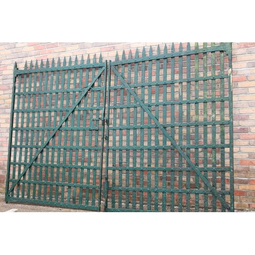 46 - Pair of green flat iron entrance gates {215 cm H x 338 cm W x 4 cm D}....