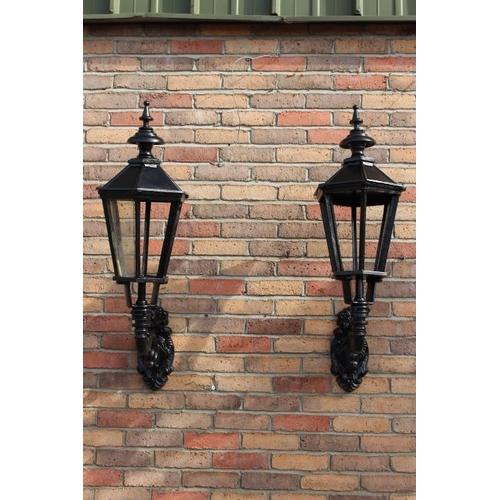 462 - Pair of black cast iron wall lights {100 cm H x 40 cm W x 35 cm D}....