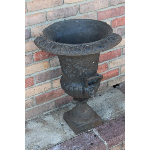 467 - Cast iron garden urn with damage {60 cm H x 46 cm Dia}....