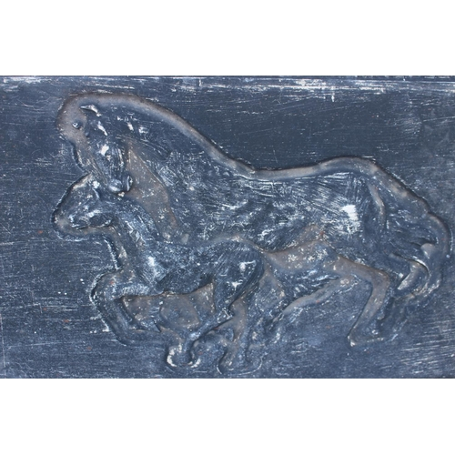485 - Composition wall plaque decorated with two horses {40 cm H x 75 cm W}....