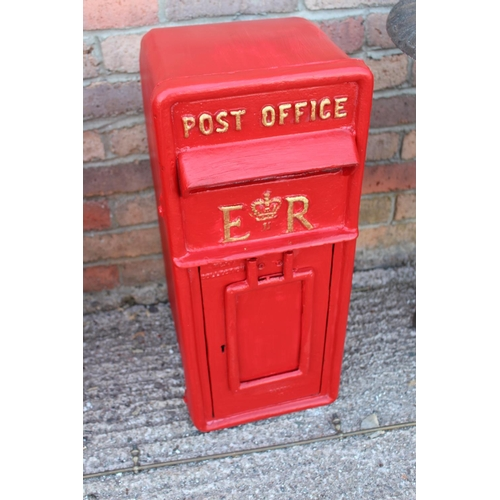 489 - Cast aluminium wall post box embossed Post Officer ER {60 cm H x 25 cm W x 35 cm D}....
