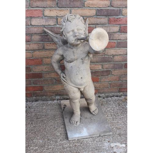 493 - Composition figure of a Cherub playing a Bugle {100 cm H x 40 cm W x 50 cm D}....