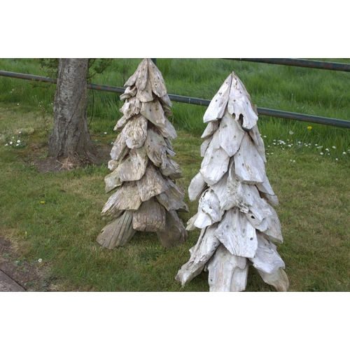 5 - Pair of wooden models of trees {100 cm H x 60 cm Dia.}....