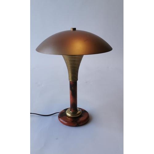 503 - 1970's retro brass and marbilised desk lamp. { 43cm H }....