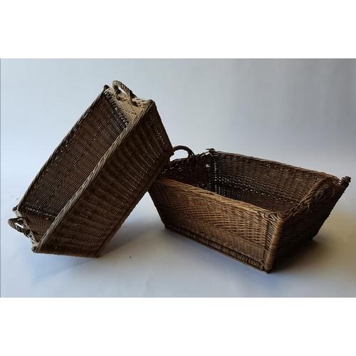 505 - Pair of early 20th. C. wicker baskets. {35cm H X 77cm W X 49cm D }....