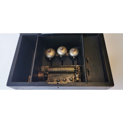 509 - 19th. C. music box. { 18cm H X 37cm W X 27cm D }....