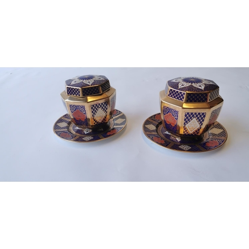 510 - Stylish pair of gilded bone china lidded biscuit barrels, Caverhill Fine Bone China....