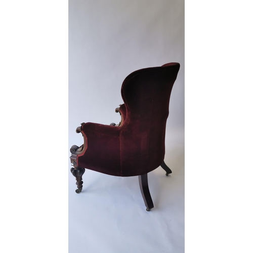 516 - Good quality William IV. Upholstered rosewood library chair. { 106cm H X 67cm W X 80cm D }....