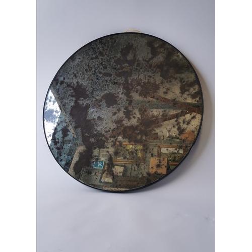517 - Vintage designer aged glass mirror of circular form. { 80cm Dia }....