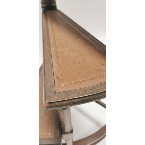 548 - Late 19th. C. mahogany library steps, the steps with tooled leather insets. { 180cm H }....