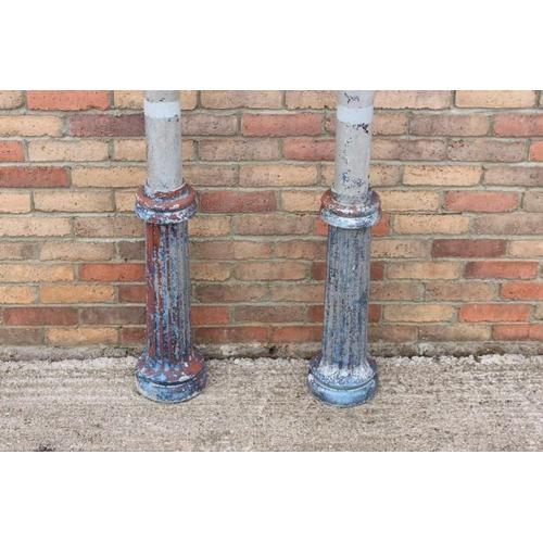 55 - Pair of grey aluminium Corinthian columns. {240 cm H x 24 cm Dia.}....
