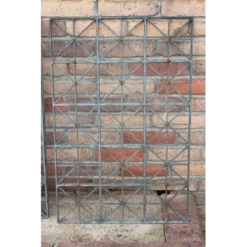 60 - Three bronze  wall trellis panels {58 cm H x 38 cm W  each}....