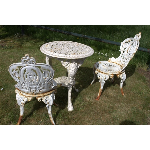9 - Decorative cast iron three piece garden set {Table - 62 cm H x 60 cm Dia., Chairs - 80 cm H X 40 cm ...