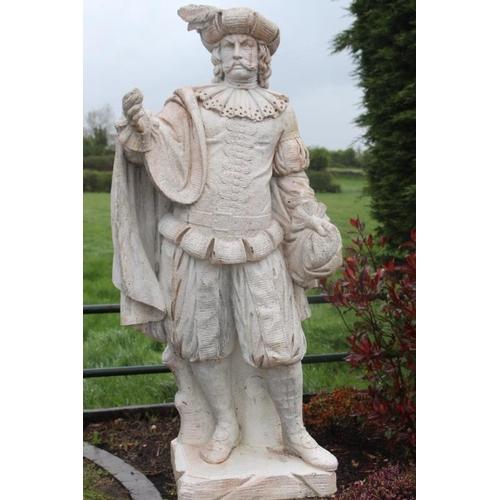 96 - Composite stone figure of an Elizabethan Gentleman on base {210 cm H x 40 cm W x 47 cm D}....