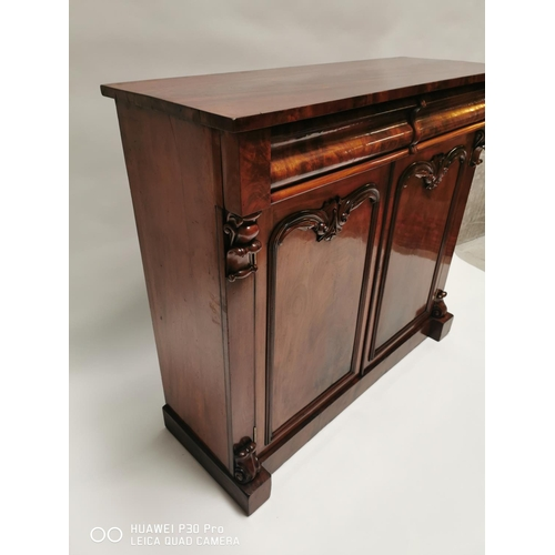 1 - William IV mahogany side cabinet {112 cm H x 125 cm W x 45 cm D}....