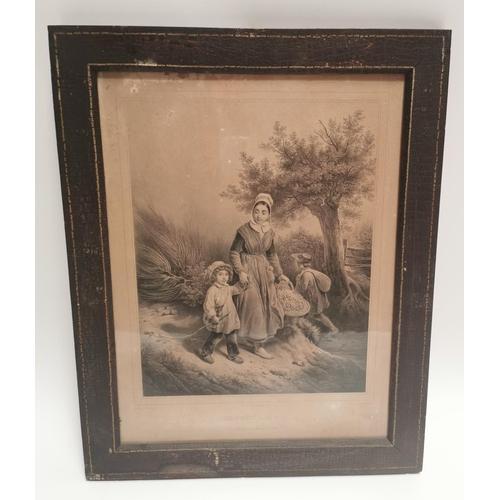 13 - 19th C. framed family print {55 cm H x 44 cm W}....