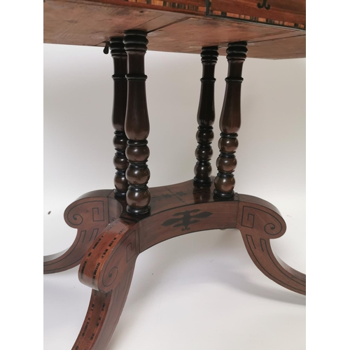 14 - Regency mahogany inlaid turn over leaf  tea table {71 cm H x 91 cm W x 45 cm D}....