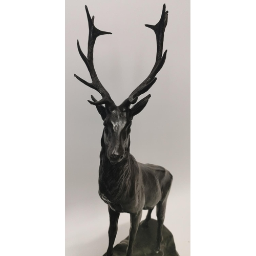 19 - Pair of exceptional quality bronze stags on marble bases {74 cm H x 83 cm W x 18 cm D}....