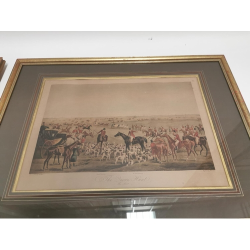 21 - Pair of coloured Hunting Prints mounted in gilt frames  - Duorn Hunt. { 58 cm H  X  79cm W }....