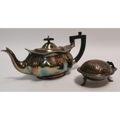 27 - Silver plate bonbon dish and teapot....