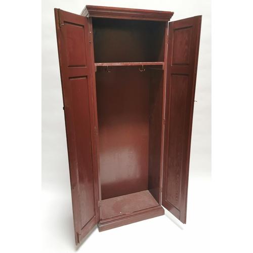 3 - Edwardian pitch pine hall cupboard {194 cm H x 66 cm W x 33 cm D}....