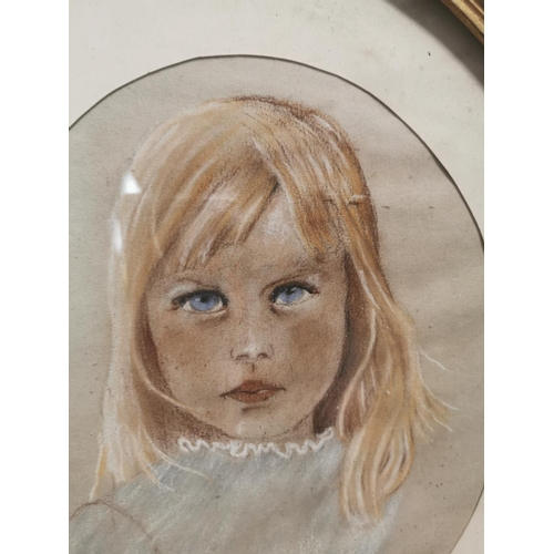 30 - 19th C. chalk drawing of girl in gilt frame {33 cm H x 28 cm W}....