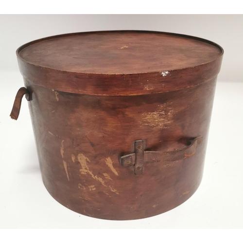 33 - Early 20th C. bentwood hat box {29 cm H x 41 cm W}....