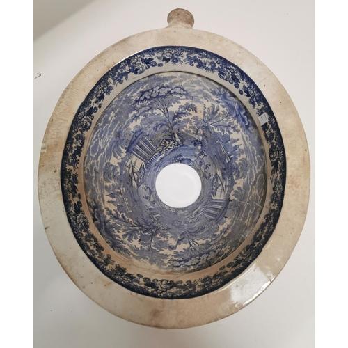 35 - 19th. C. blue and white toilet bowl {24 cm H x 40 cm W x 49 cm D}....