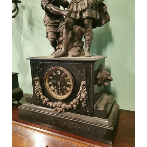 39 - 19th C. three piece slate and spelter clock garniture. {Clock 73 cm H x 40 cm W x 18 cm D & Candelab...