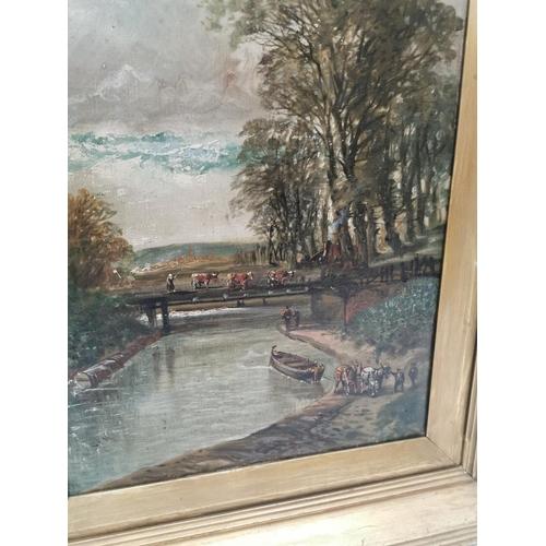 41 - Gilt frame oil on canvas 'Afternoon on the Glasgow and Coatbridge Canal' scene. (59 cm H X 39 cm W)....
