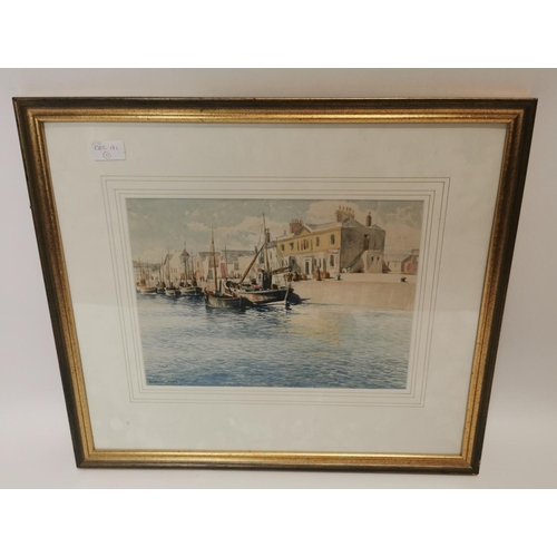 42 - Framed watercolour of Harbour scene {51 cm H x 60 cm W}....