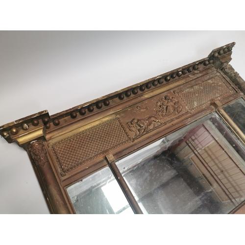 43 - William IV gilt mirror {71 cm H x 128 cm W}....