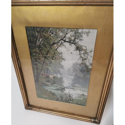 44 - Pair of 19th. C. gilt framed prints - Woodland Scene and  Cattle A de Breanski. { 43cm H X 30cm W }....
