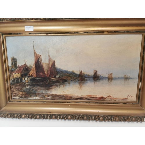 45 - 19th. C. oil on canvas River Scene by J Cox....
