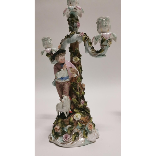 5 - Pair of 19th C. German ceramic candelabras {39 cm H x 26 cm W x 13 cm D}....