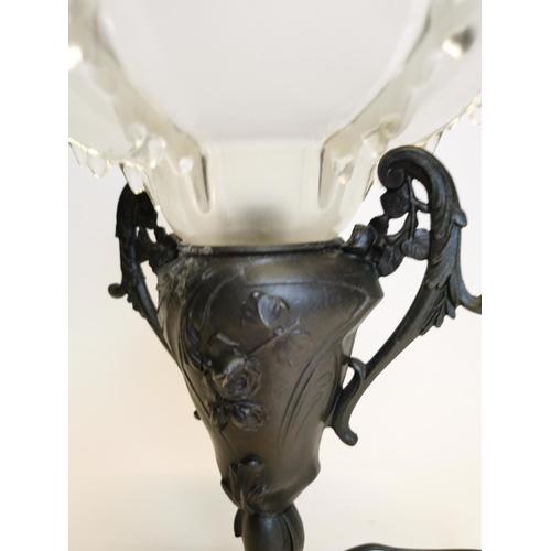 50 - Art Nouveau style spelter lamp {30 cm H x 20 cm W}....
