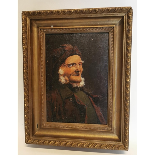 53 - 19th C. oil on board of Gentleman in gilt frame {34 cm H x 26 cm W}....