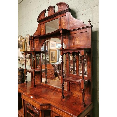 54 - Good quality 19th. C.  inlaid rosewood mirror backed chiffonier. (254 cm H X 152 cm W X  47 cm D)...