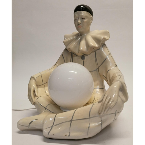 55 - Unusual Art Deco style table lamp in the form of a seated clown {40 cm H x 37 cm W x 32 cm D}....