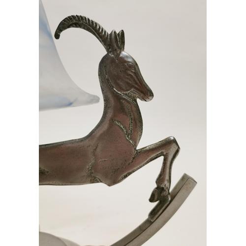 56 - Art Deco chrome lamp {29 cm H x 28 cm W x 15 cm D}....