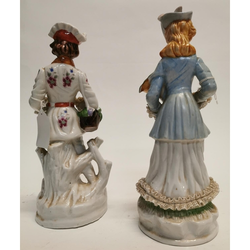 59 - German ceramic figures of a Lady and Gentleman. {31 cm H}....